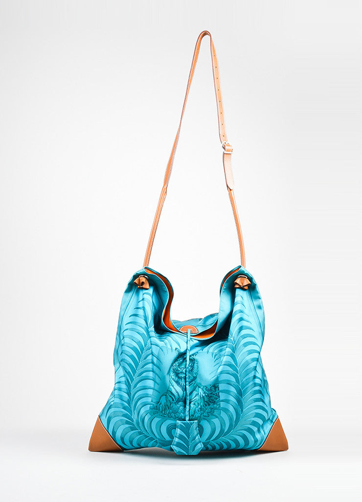 "Turquoise and Brown Hermes Leather Trim ""Silk City Tiger Royal"" Bag Frontview"
