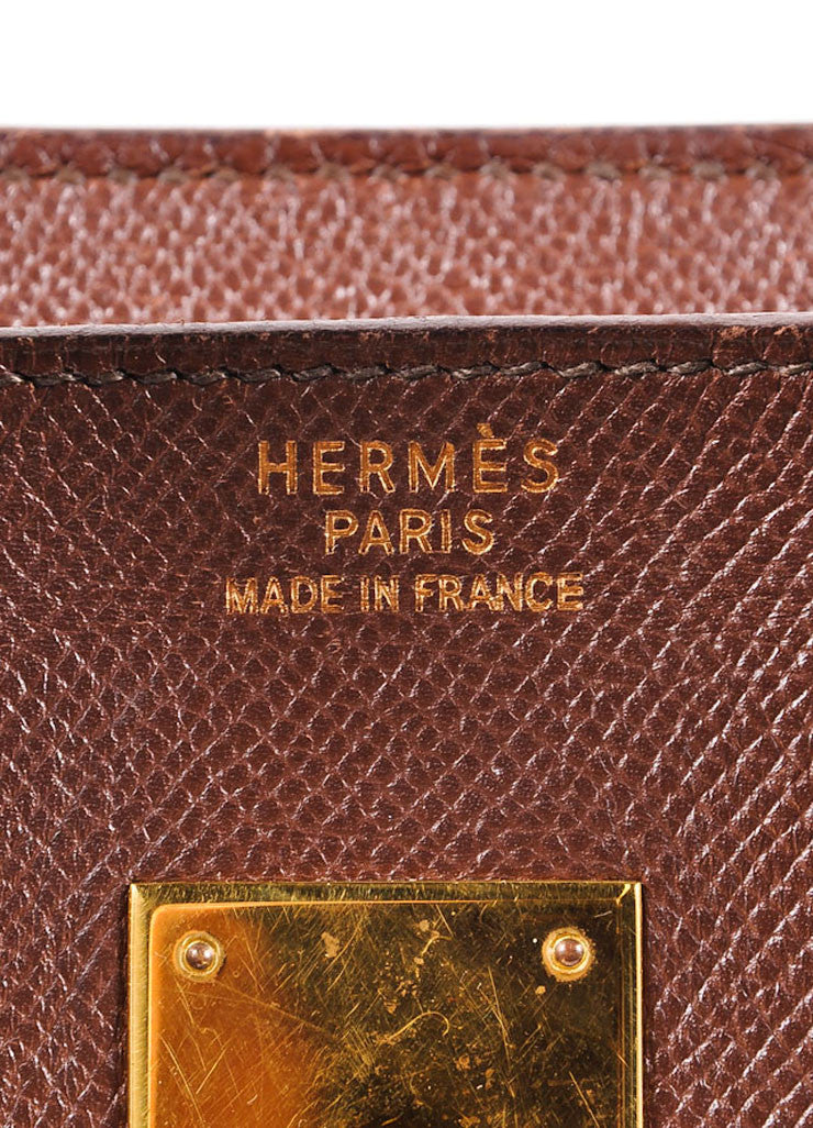 "Hermes Brown and Gold Toned Epsom Leather ""Birkin"" Handbag Brand"