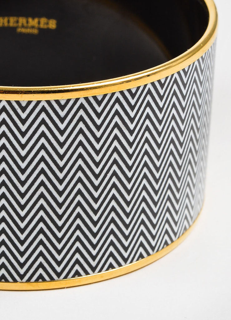 "Gold Toned, White, and Black Hermes Enamel ""Chevrons"" Extra Wide Bangle Bracelet  Detail"