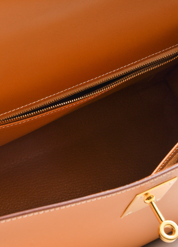 "Hermes Natural Tan Chamonix Leather Gold Toned Hardware ""Kelly 32cm"" Bag Interior"