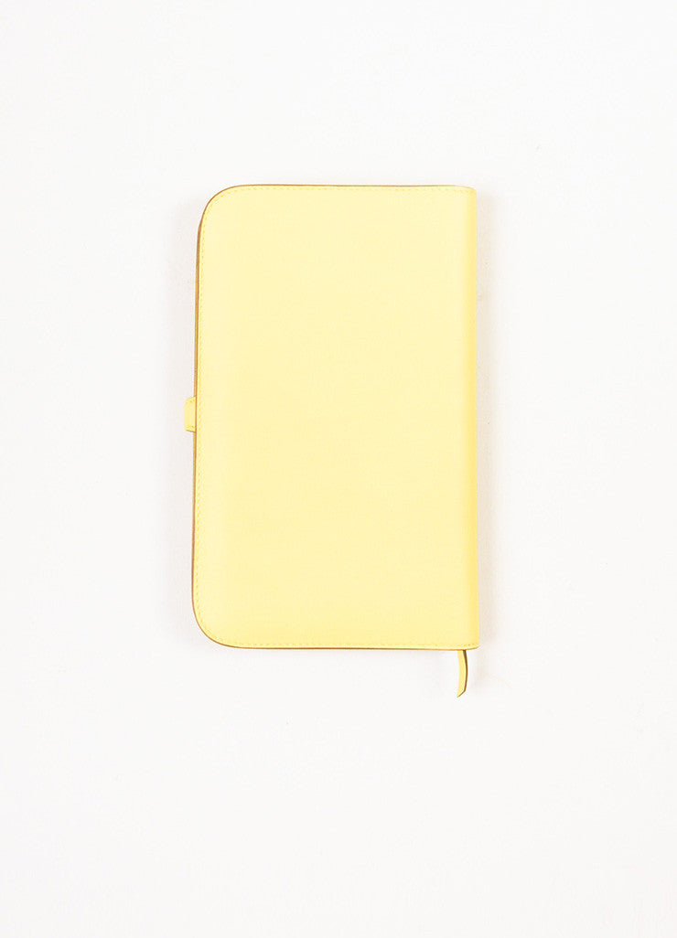 "Hermes Pale 'Soufre' Yellow Swift Leather Palladium Hardware ""Dogon Duo"" Wallet backview"