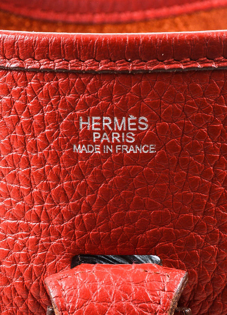 "Hermes Red Clemence Leather Canvas Strap ""Evelyne II PM"" Shoulder Bag Brand"