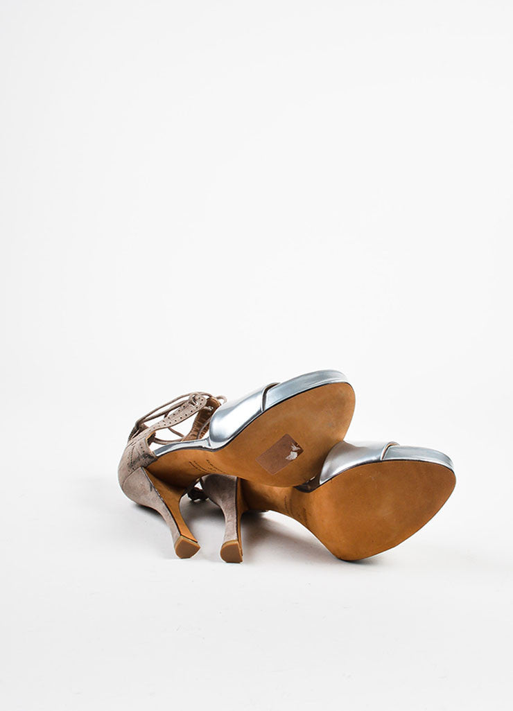 Hermes Silver Toned Leather and Taupe Suede Ankle Wrap High Heel Sandals Outsoles