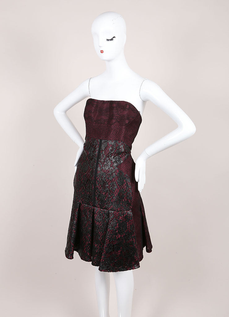 J. Mendel New With Tags Burgundy And Black Silk Metallic Lace Strapless Dress Sideview