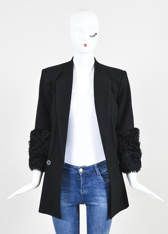 Black Karl Lagerfeld Wool Fur Trim Double Breasted Blazer Coat Frontview