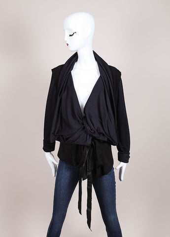 Karolina Zmarlak Black and Navy Draped Collar Reversible Belted Jacket Frontview