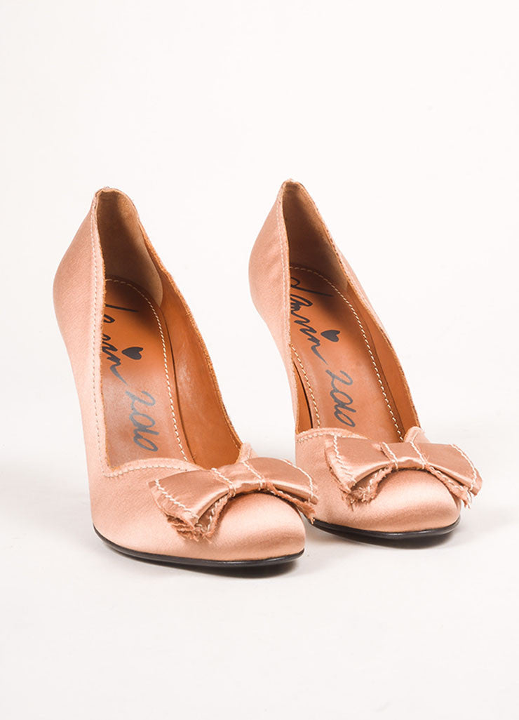 Lanvin Dusty Pink Satin Bow Pumps Frontview
