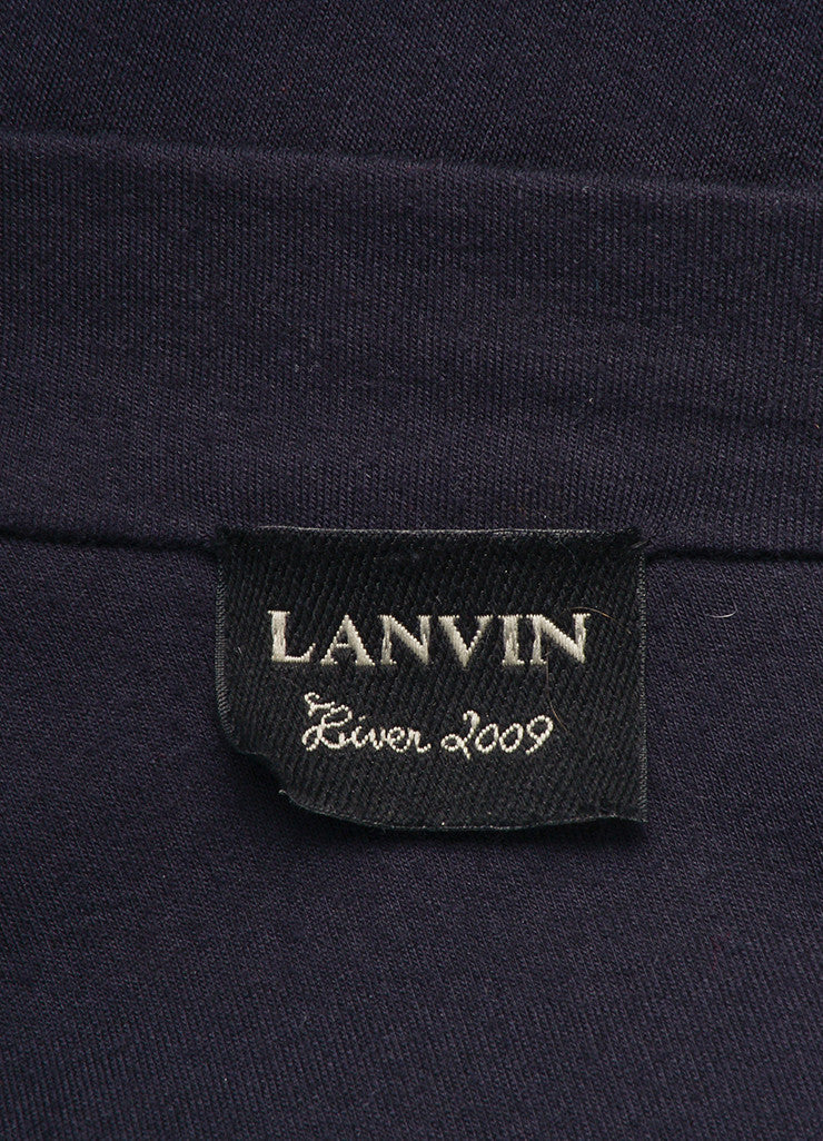 Lanvin Navy Blue Wool and Cashmere Ruffle Zip Long Sleeve Sweater Dress Brand