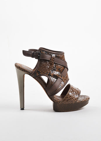 Lanvin Brown Snakeskin Crisscross Strap Platform Sandals Sideview