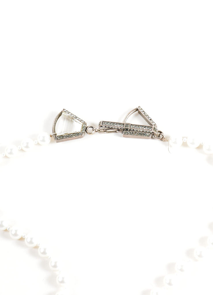 Lanvin White and Silver Toned Faux Pearl and Rhinestone Necklace Closure