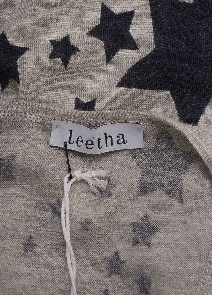 Leetha New With Tags Grey and Blue Cashmere and Silk Star Print Racerback Tank Top Brand