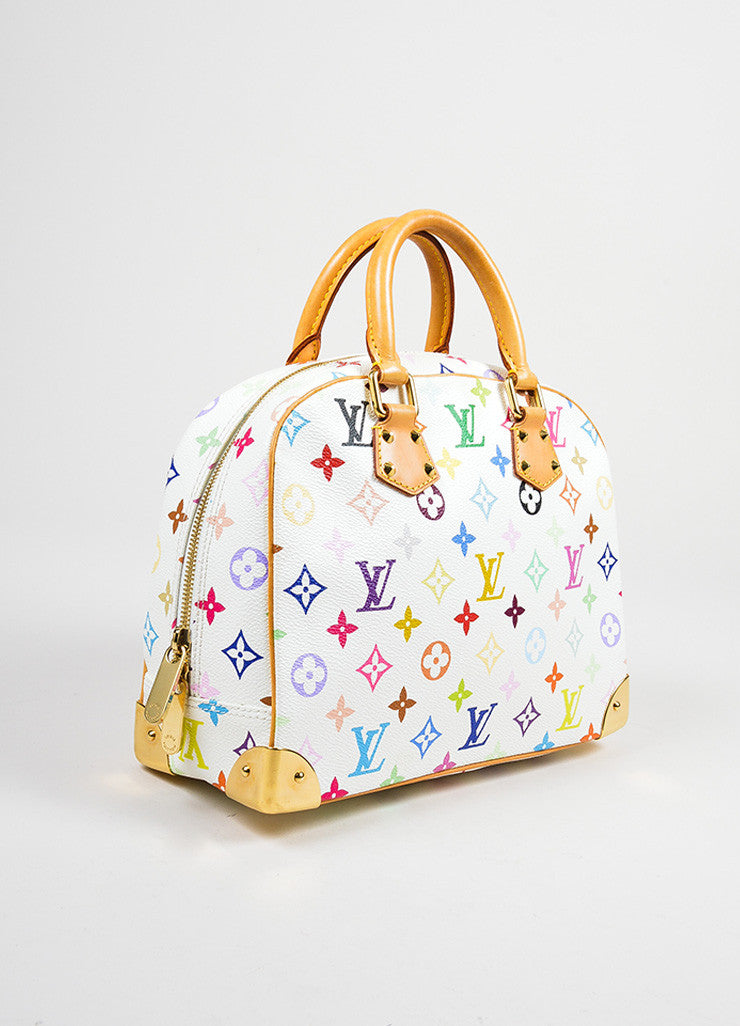 "White and Multicolor Louis Vuitton Coated Canvas Monogram ""Trouville"" Handbag Sideview"
