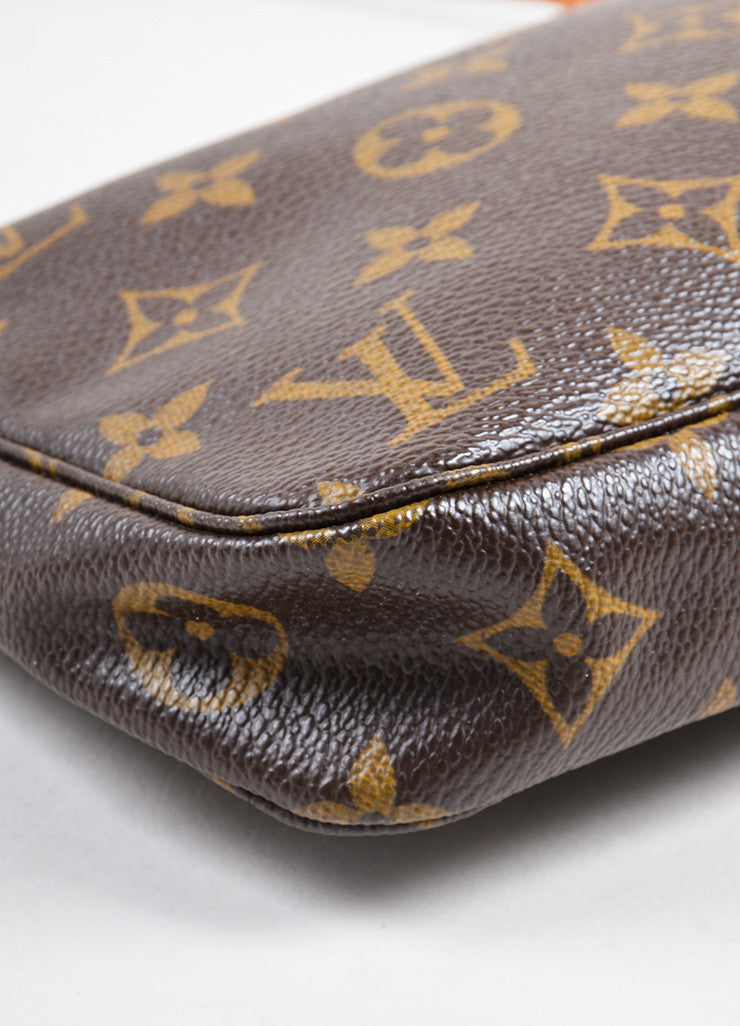 Louis Vuitton Brown Coated Canvas and Leather Monogram Pochette Bag Detail