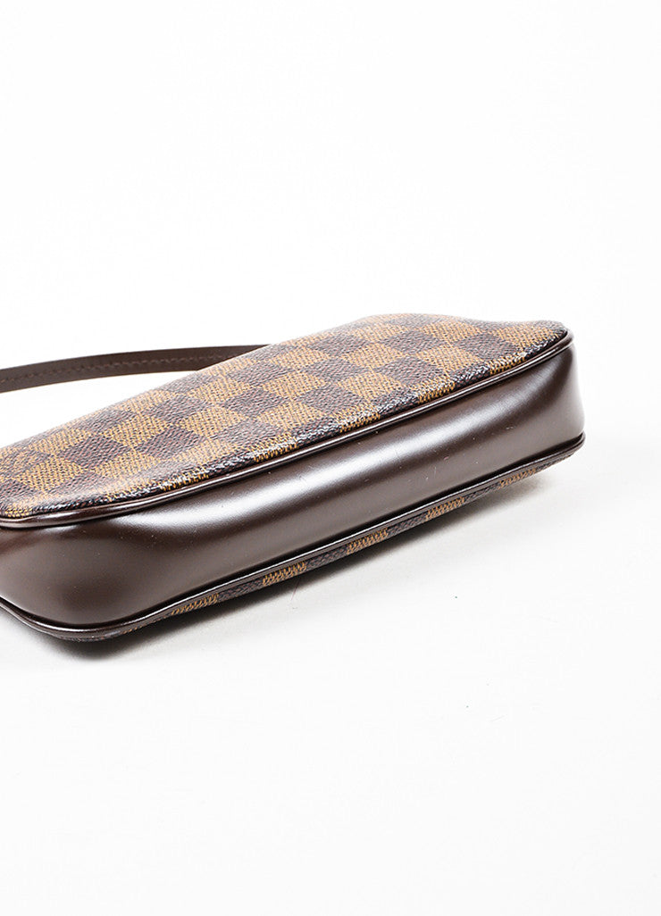 "Louis Vuitton Brown ""Damier"" Canvas Leather ""Trousse Accessoires Pochette"" Bag Bottom view"