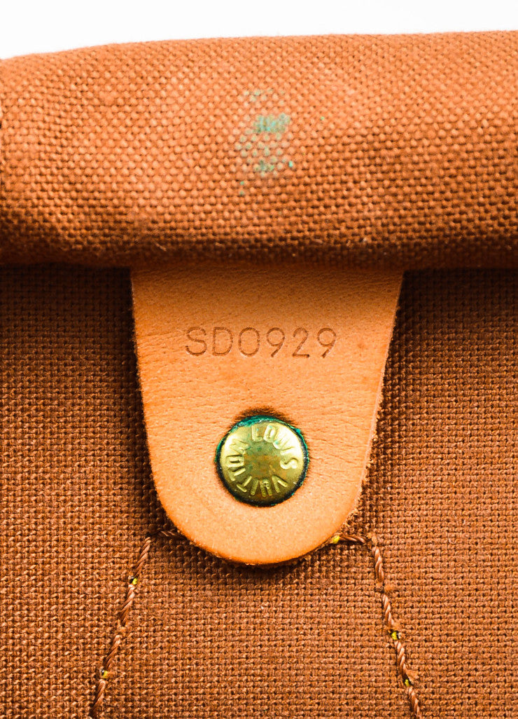 "Louis Vuitton Brown and Tan Coated Canvas Leather Monogram ""Speedy 35"" Bag Date Code"