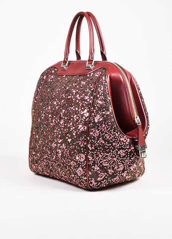 Louis Vuitton Burgundy Leather Sequin Monogram Sunshine Express North South Bag Sideview