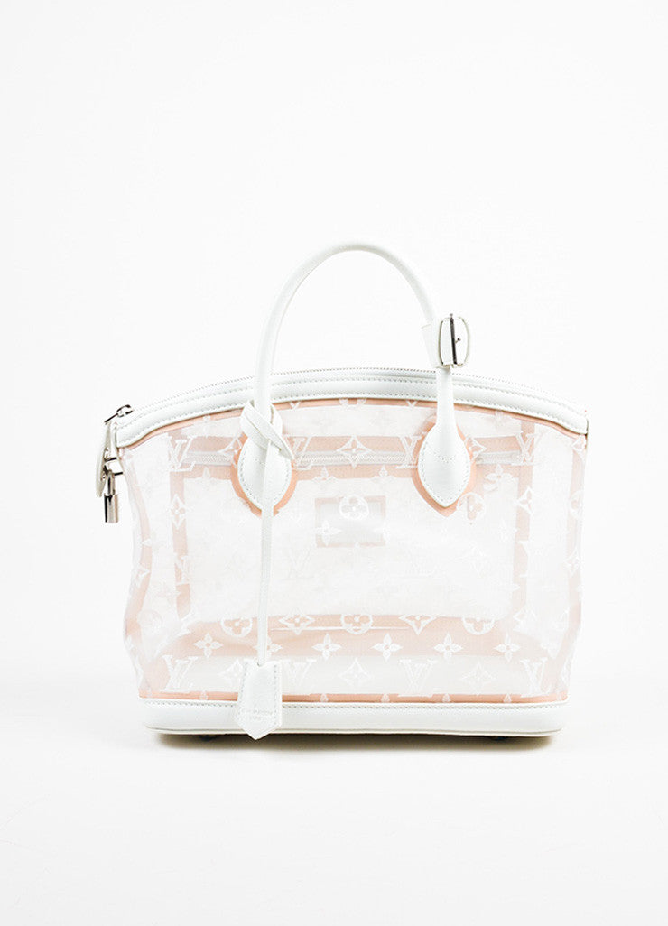 "Louis Vuitton Limted Edition White Nylon and Leather ""Transparence Lockit"" Satchel Bag Frontview"