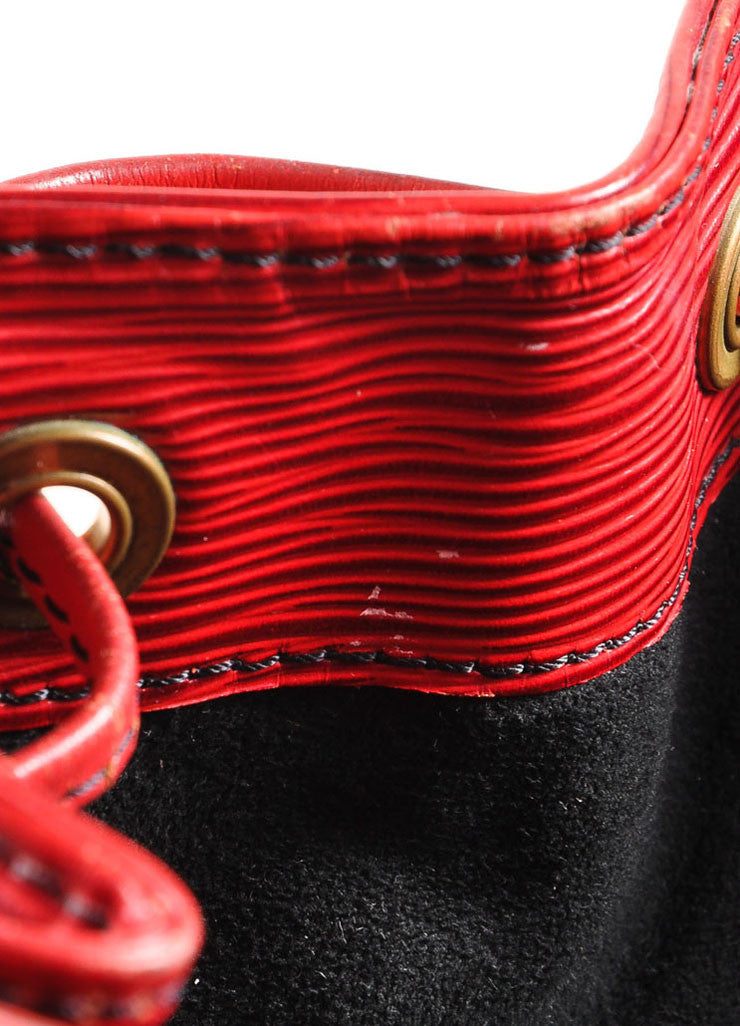 "Red Epi Leather ""Noe"" Bucket Bag"