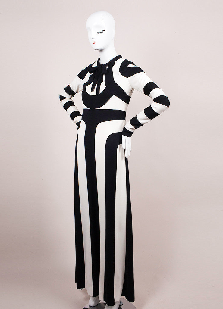 Marc Jacobs Black and White Stripe Long Sleeve Maxi Dress Sideview