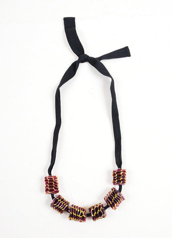 Marni Black Purple Metallic Gold Plastic Beaded Ribbon Tie Necklace Frontview
