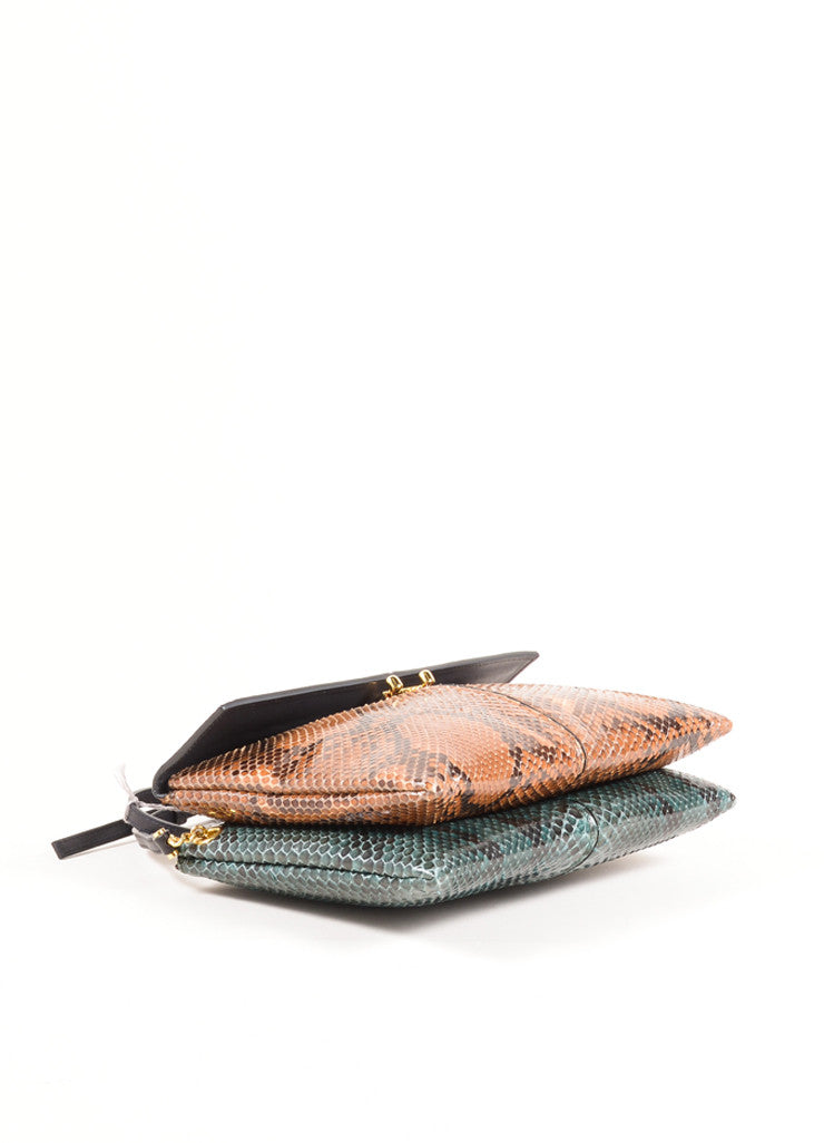 "Marni Brown and Green Python Leather Two Tone ""Bandoleer"" Shoulder Bag Bottom View"
