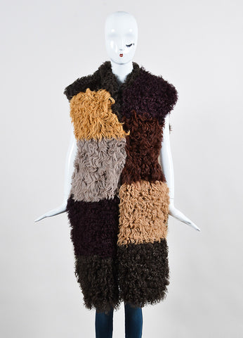 Marni Multicolor Patchwork Shearling Long Vest Frontview 2