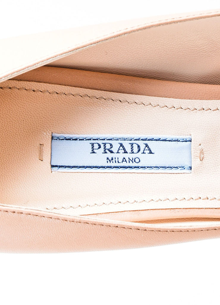 Nude Beige Prada Leather Almond Toe Stiletto Pumps Brand