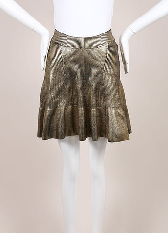 Ohne Titel New With Tags Gold Knit Foil Ribbed Skirt Frontview