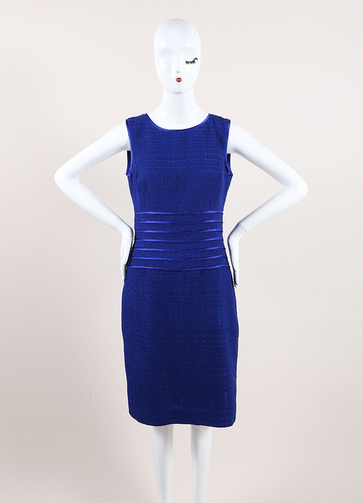 Oscar de la Renta New With Tags Blue Woven Knit Satin Trim Sleeveless Dress Frontview