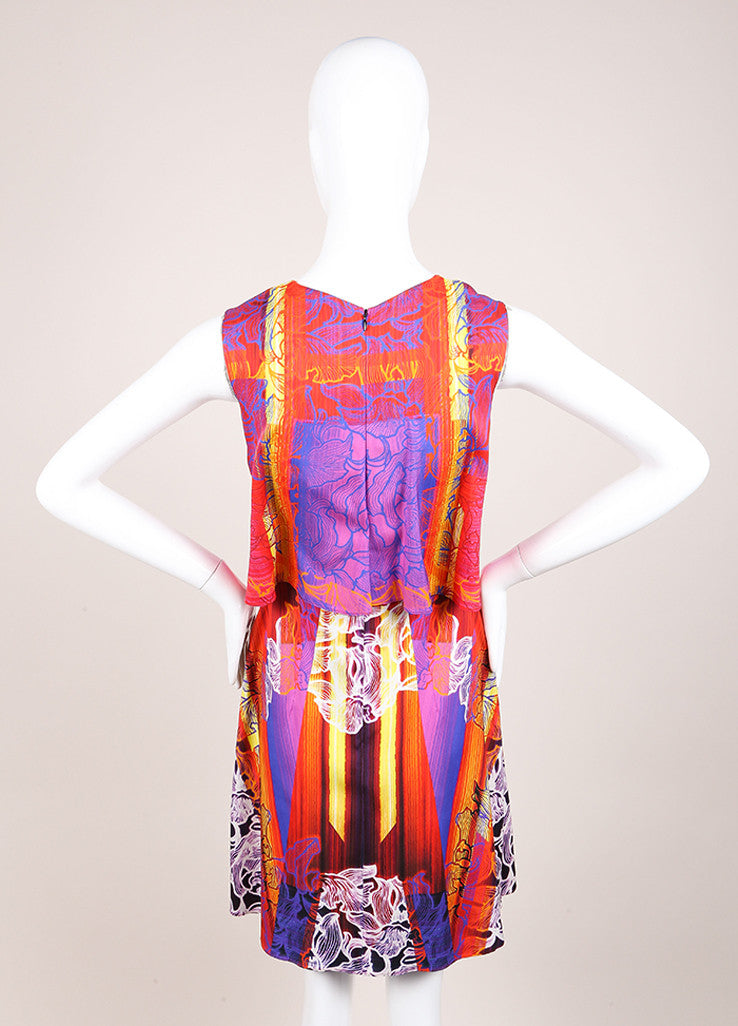 "Peter Pilotto New With Tags Red and Blue Silk Floral Stripe Sleeveless ""MT"" Dress Backview"