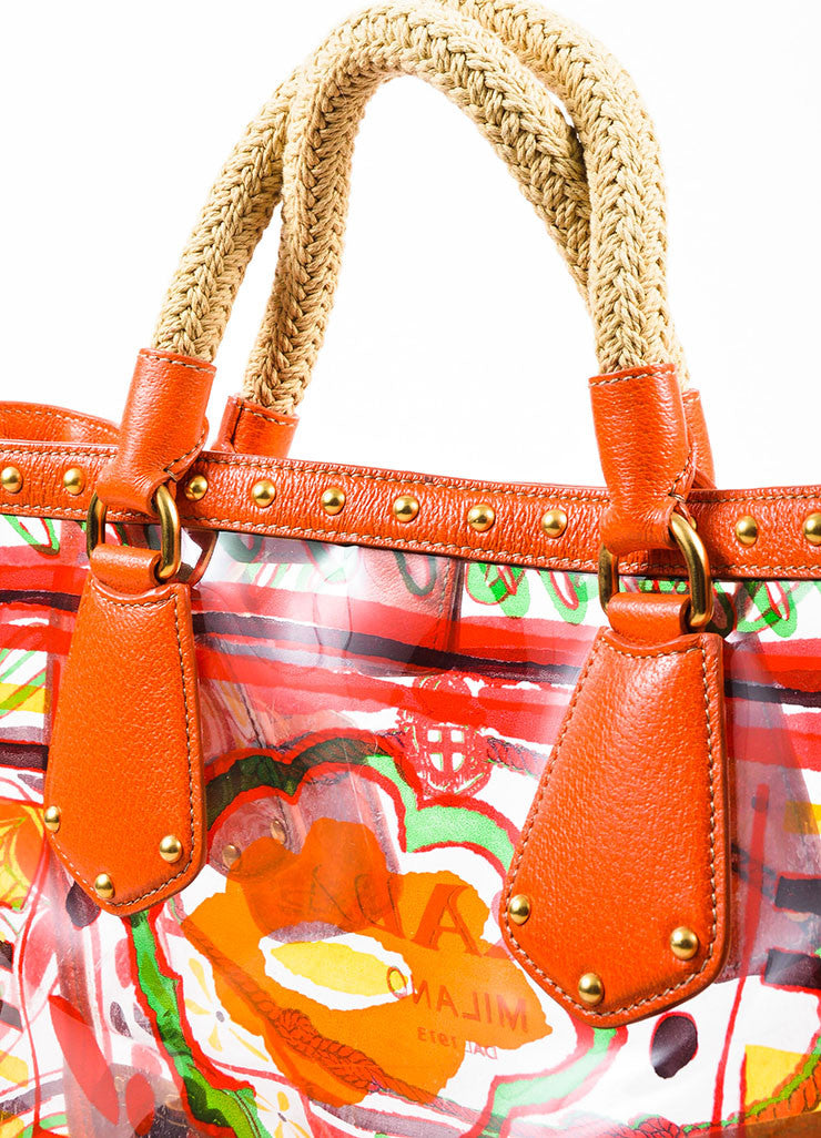 "Orange and Multicolor Prada Leather and PVC Floral Crossbody ""Plex Stampato"" Tote Bag Detail 2"