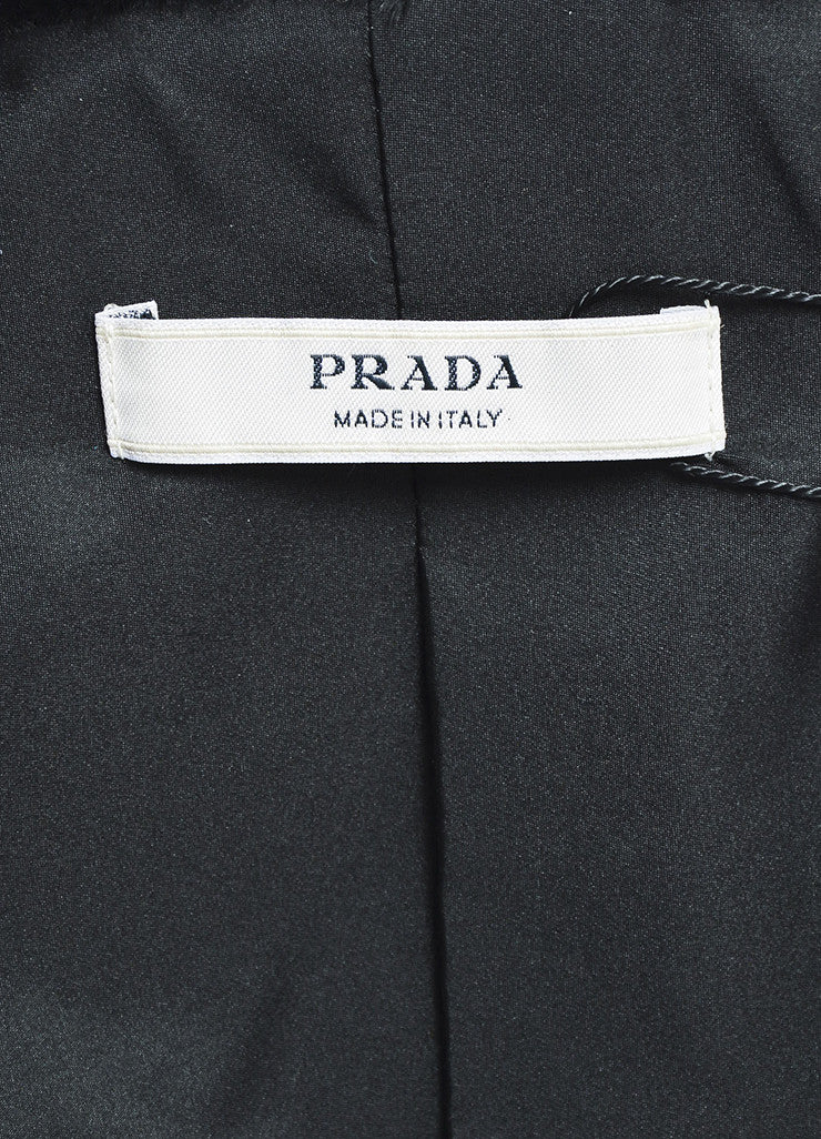 Prada Black Lamb Fur Embellished Shawl Lapel Evening Jacket Brand