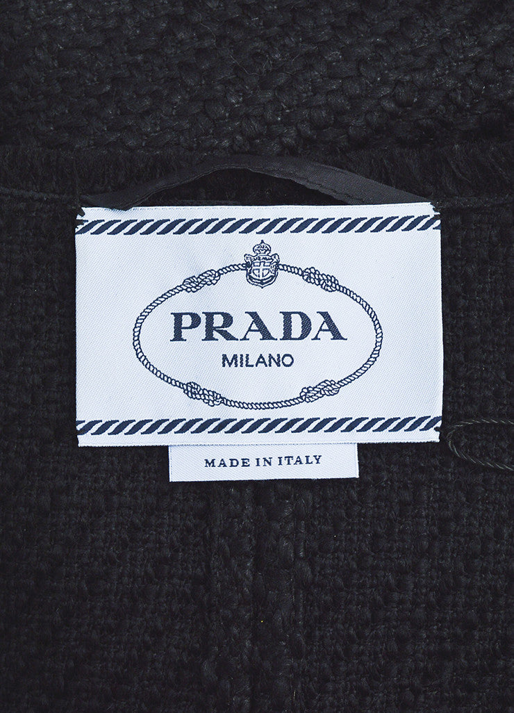 Prada Black Wool Woven Knit Leather Trim Fringe Blazer Jacket Brand