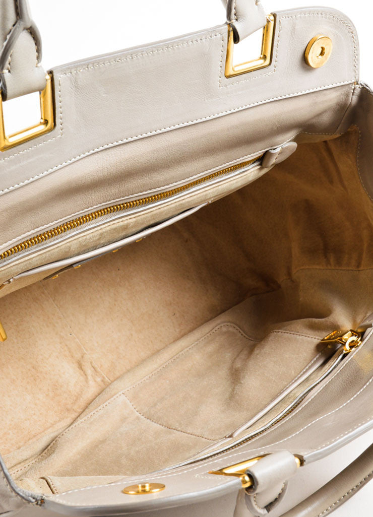 Prada Grey and Gold Toned Leather Top Handle Bag Interior