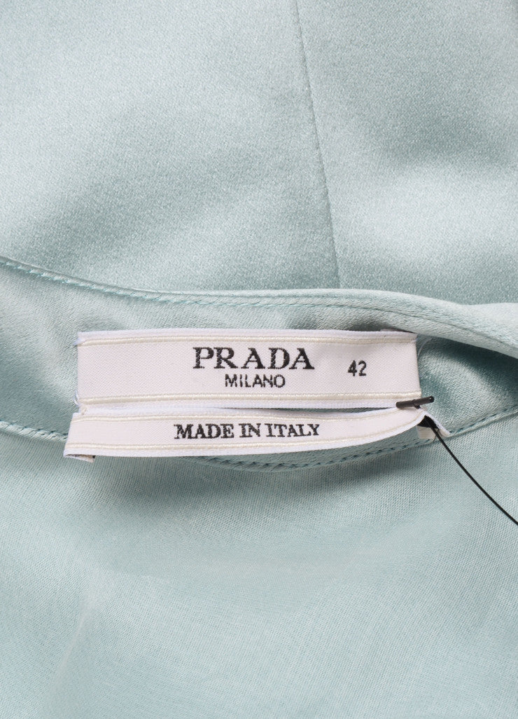 Prada Green Silk Satin Ruffle Trim Sleeveless Dress Brand