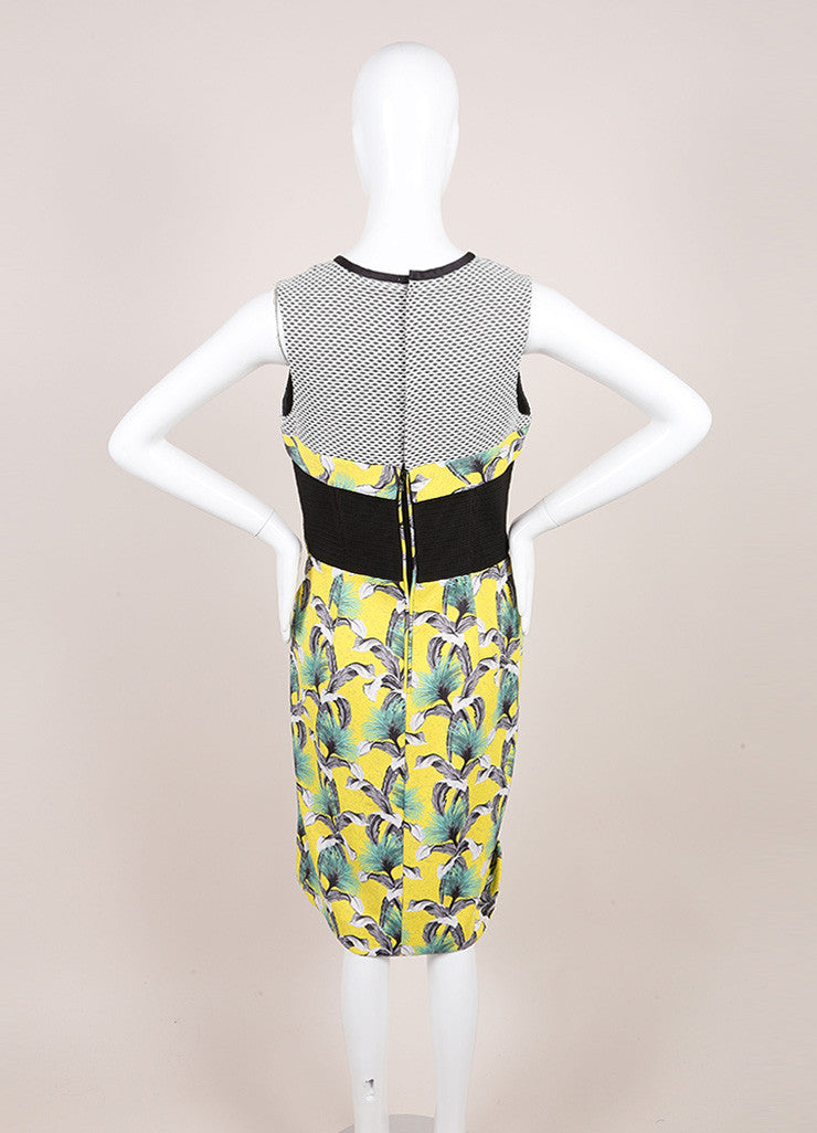 Proenza Schouler  Yellow, Black, and Multicolor Tropical Print Sleeveless Neoprene Wrap Dress Backview