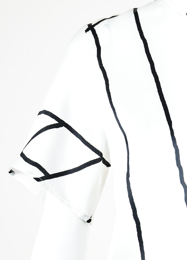 Rag & Bone White Black Silk Line Printed Short Sleeve Top Detail