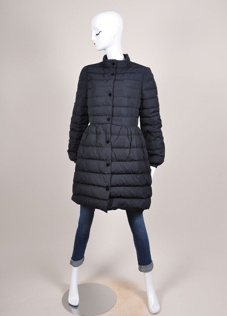 Red Valentino New With Tags Navy and Black Velvet Bow Trim Taffeta Puffer Coat Frontview