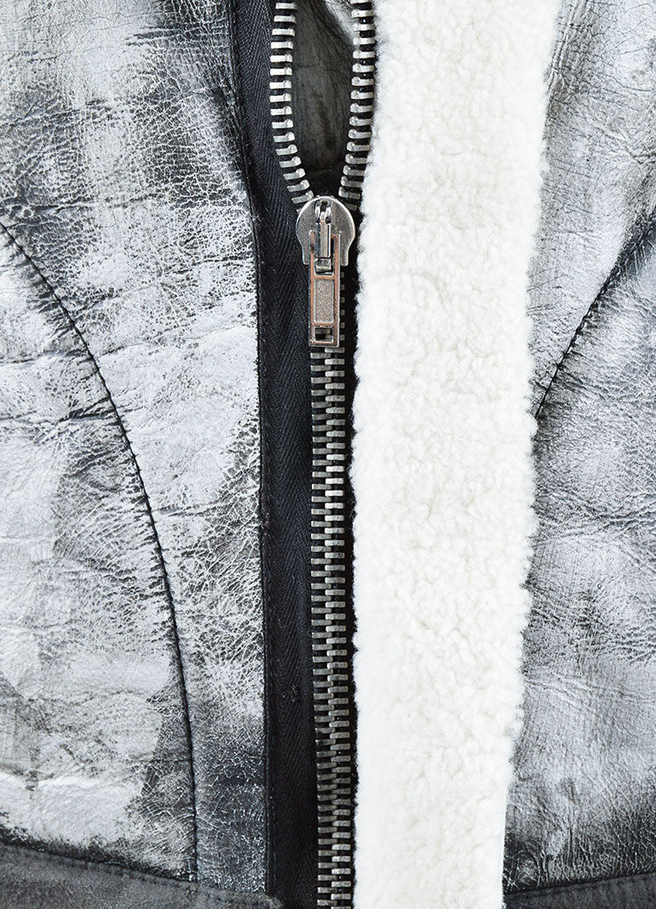 Grey Rick Owens Distressed Leather Knit Cropped Biker Jacket Detail