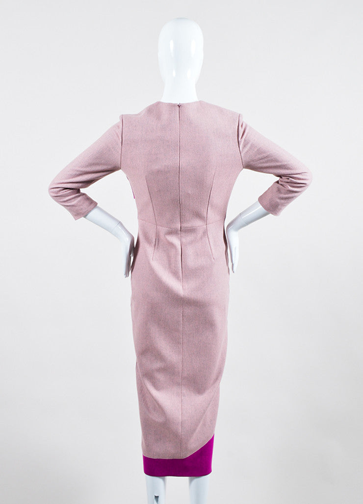 "Pink Roksanda Wool Ruffle ""Marsta"" Three Quarter Sleeve Dress Back"