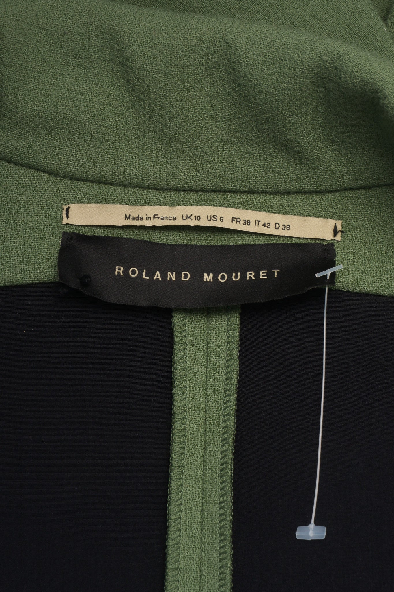 Roland Mouret Green Wool Knit Magnetic Button Oversized Jacket Brand