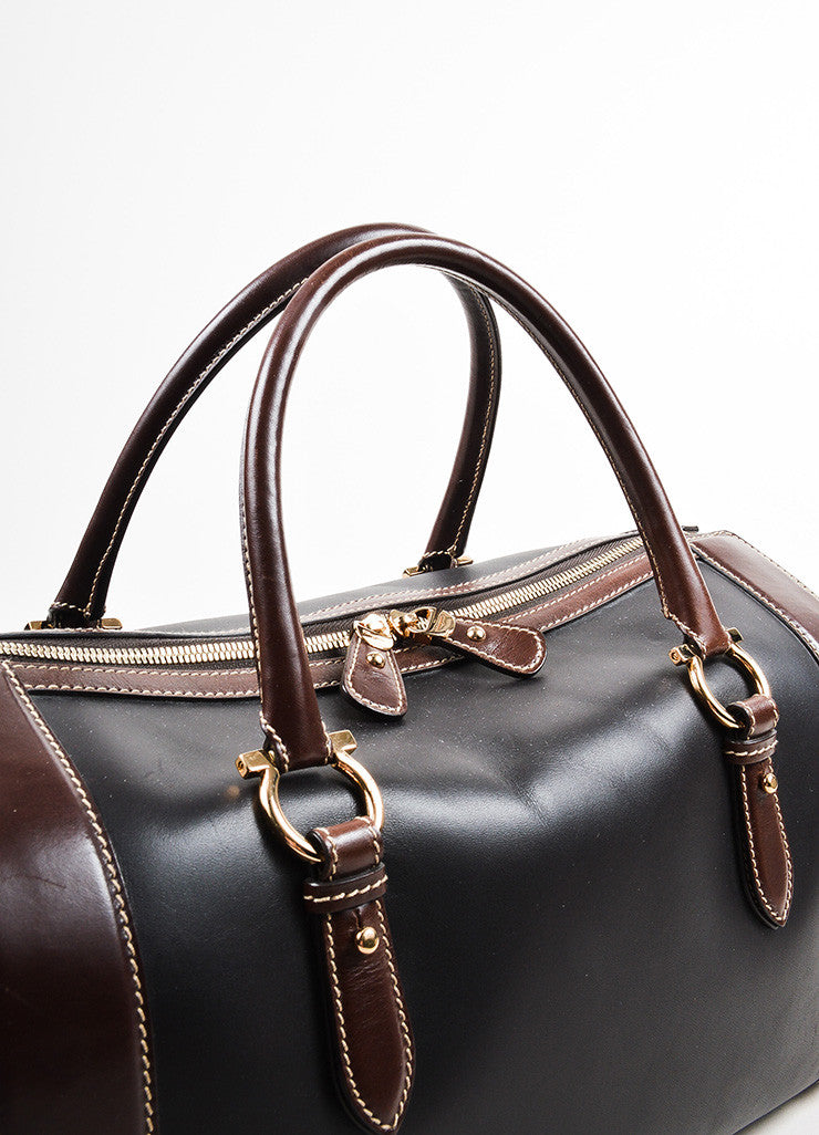 Black and Brown Salvatore Ferragamo Bicolor Leather Horseshoe Detail Duffle Bag Detail 2