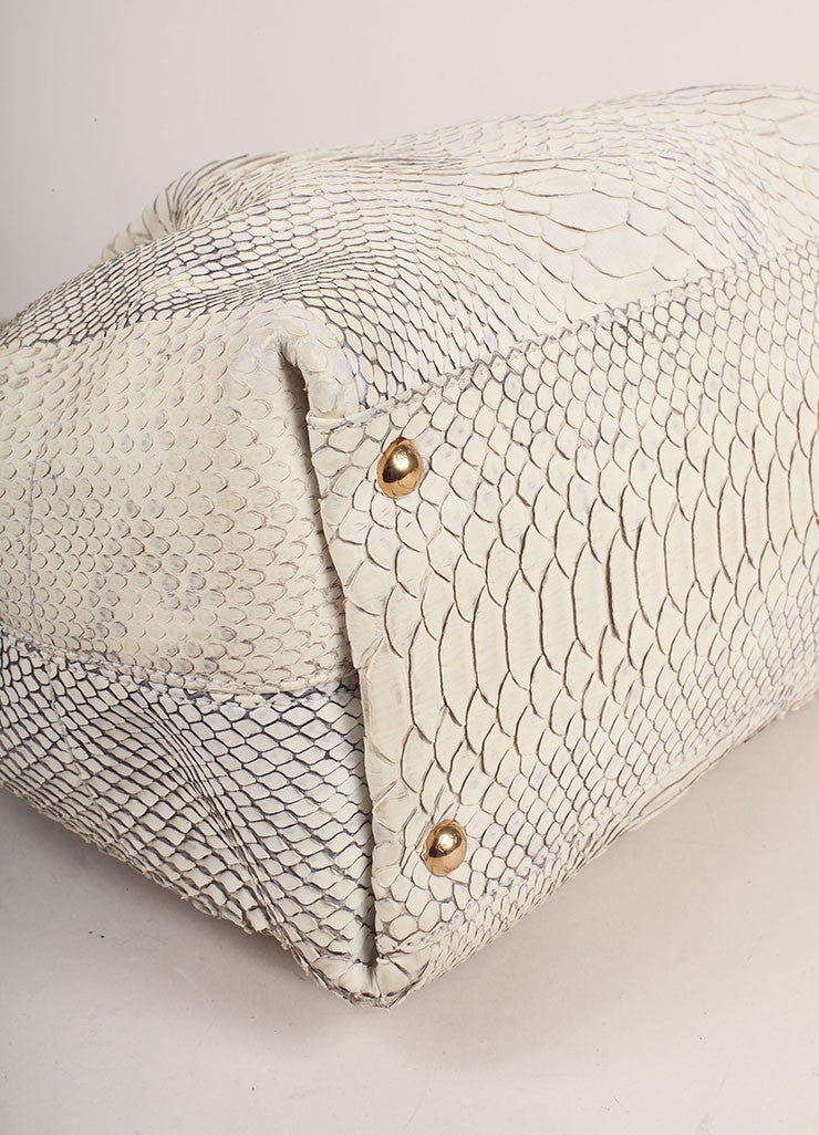 Salvatore Ferragamo Cream Snakeskin Leather Top Handle Tote Bag Detail