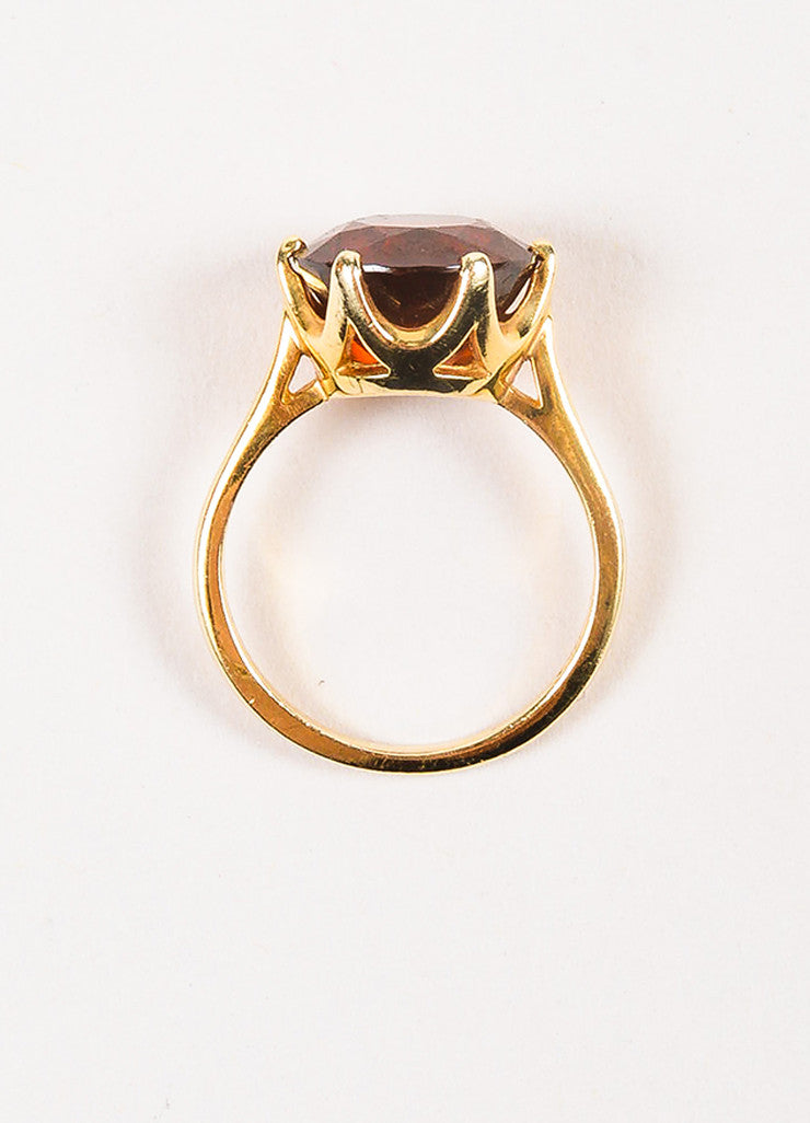 Sydel & Sydel Jewelry 14K Yellow Gold and Round Garnet Stone Solitaire Ring topview