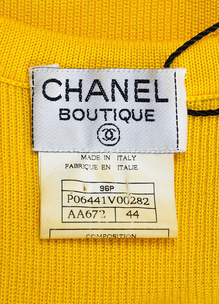 Chanel Canary Yellow Ribbed Knit Scoop Neck Sweater Vest Brand