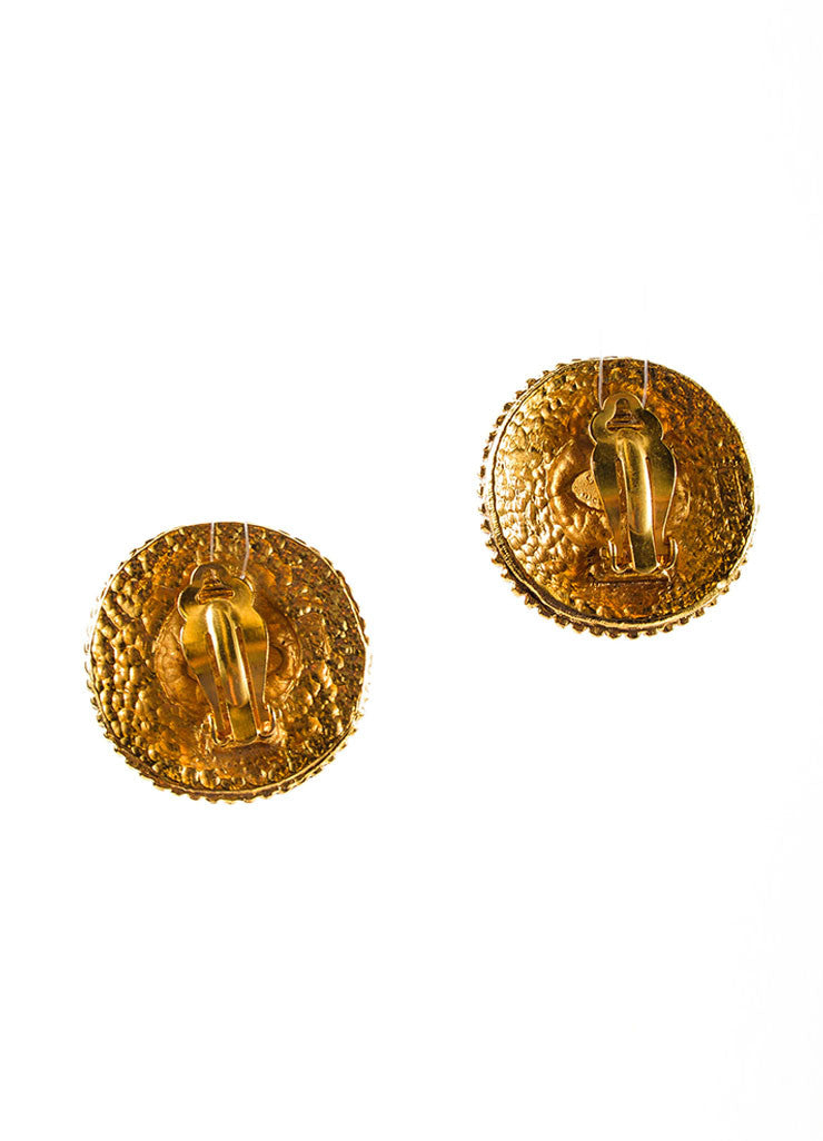 "Chanel Gold Toned ""CHANEL"" CC Logo Medallion Button Earrings Backview"