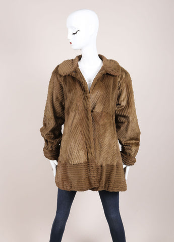 Fendissime by Fendi Brown and Green Sheared Beaver Fur Swing Coat Frontview