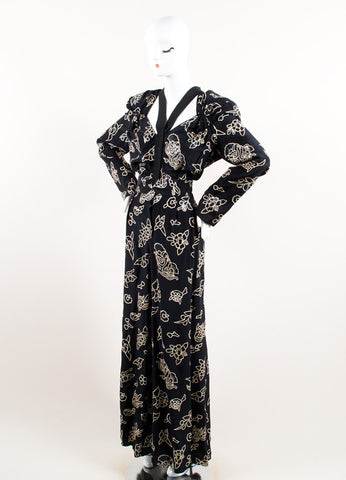 Giorgio Armani Black and Cream Silk Sequin Floral Belted Jumpsuit Sideview