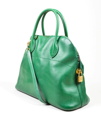 "Kelly Green Hermes Leather ""Bolide 35cm"" Structured Satchel Bag Sideview"