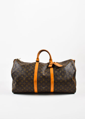 "Louis Vuitton Brown and Tan Coated Canvas and Leather Monogram ""Keepall 60"" Bag Frontview"